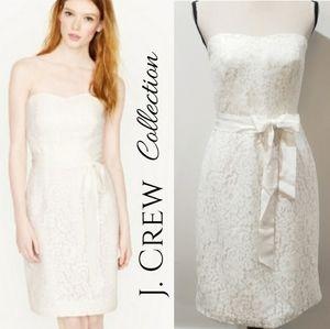 J. Crew Ivory Laura Strapless Lace Bridal Dress 10